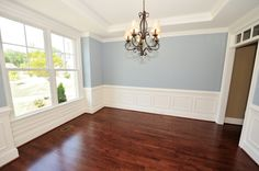 Hardwood floors- love the dark stain!! This is my favorite stain - not too much brown OR red. This blue is my favorite, too!
