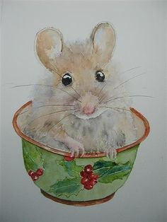 Christmas Mouse Painting Fine Art America - my birthday is very near Christmas - this one is for me!