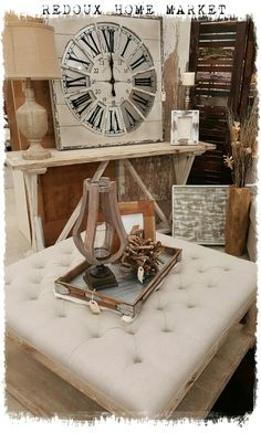 Big Clock farmhouse decor #furniture #ottoman #clock #sofatable