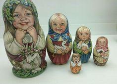 Старинный русский ручная роспись матрешка маленькая девочка вложенной куклы художник подписал