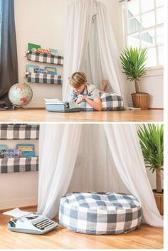 This handmade, large floor pillow cover in gun metal buffalo check is the perfect amount of room for your little one to get comfortable and enjoy a good book or some relaxing alone time. Ideal for playrooms, nurseries, and kids spaces. Visit our shop at bluehousejoys.com/shop/ for more inspiration!
