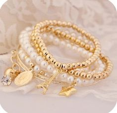 Big Coin Multi Bracelets with Charm Tower Pearl Chain Bracelets