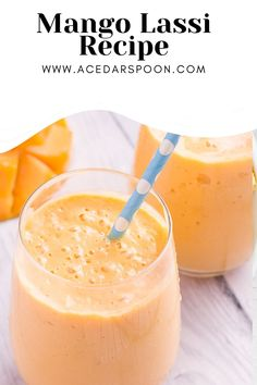 This Easy Mango Lassi Recipe will remind you of the drink you often get in Indian restaurants. You can easily make that same thing at home with a handful of simple ingredients. Mango, yogurt, honey, milk and an optional touch of cardamom make this so sweet and flavorful – the perfect snack or even breakfast! // acedarspoon.com #mango #lassi #Indianrecipe #drink #yogurt #smoothie Mango Lassi Recipes, Fruit Smoothie Recipes, Healthy Smoothies, Healthy Drinks, Dairy Free Smoothie, Mango Recipes Healthy, Mango Smoothies, Mango Pineapple Smoothie, Mango Dessert Recipes