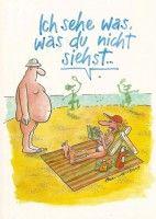 Postkarte Cartoon - Ich sehe was, was du nicht siehst