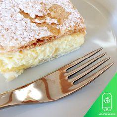 Frescana Daily: Cremeschnitte vanilla and custard cream cake dessert.  #foodporn #foodie #foodlovers #foodblogger