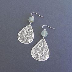 mossy green prehnite and teardrop earrings by cravejewelrydesign, $17.00