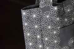 flock of daisies, gray floral everyday cotton hand tote bag by my dear mom/mywhiteroom