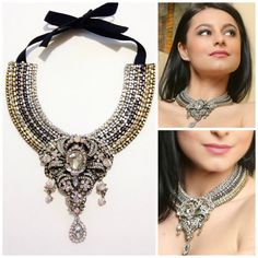 Crystal statement bib necklacebeadwork one-of-a-kind by Diomios