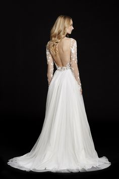 Style 6553 Remmington -- Rosewater long sleeve A-line bridal gown, illusion floral beaded bodice with bateau neckline and low open back, layered English net circular skirt.
