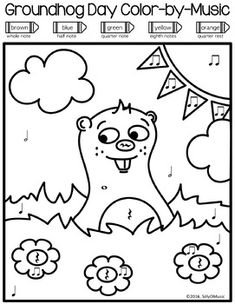 Groundhog Day Color-by-Music notes, rhythms, pitch for learning music