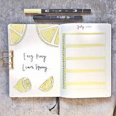 lemon summer theme july bullet journal spread