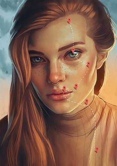 Digital Paintings: Aykut Aydoğdu - Surreale Portraits aus Istanbul: www. Digital Art Girl, Digital Portrait, Portrait Art, Surealism Art, Surreal Artwork, Surreal Portraits, Visual Metaphor, Surrealism Painting, Portrait Illustration