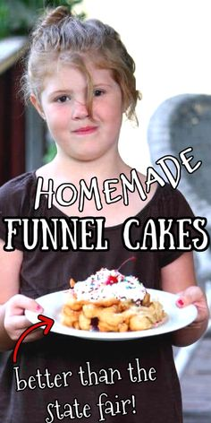 This easy, homemade funnel cakes recipe brings that State Fair food you love home to your own kitchen. Light, crispy, and delicately sweet, funnel cakes make a great base for everything from fruit to ice cream. Quick Bread Recipes, Cake Recipes, How To Make Bread, How To Make Cake, Homemade Funnel Cake, State Fair Food, Funnel Cakes, Vegetarian Eggs, Donuts
