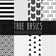 True Basics Crib Bedding Set - Black and White Custom Crib/Cot Bedding - Choose your fabric - CozybyJess Exclusive