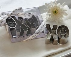 """XO"" Best Wishes Cookie Cutter Set  Your wedding or party guests are offering best wishes, so give it right back with this wonderful keepsake favor. Cookie cutt"