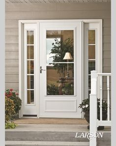 The midview white storm door adds traditional detailing to the front entry. – farmhouse front door with screen Storm Doors With Screens, Best Storm Doors, Front Door With Screen, Front Entry, Front Storm Door Ideas, Front Doors, Screen Doors, Front Stoop, Front Porches