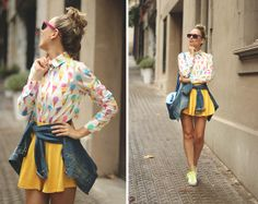 Sheinside Shirt, Ebay Skirt, Rocket Dog Sneakers, Vintage Denim Jacket, Lefties Bag