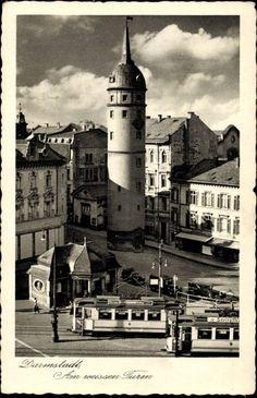 Ansichtskarte / Postkarte Darmstadt in Hessen, Partie am weißen Turm 1938