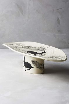 Sketched Silhouette Footed Platter - anthropologie.com