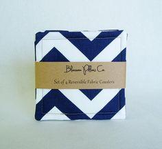 Fabric Coasters Set of 4 Reversible Navy Blue Gray Chevron. $16.00, via Etsy -- BlossomPillowCo