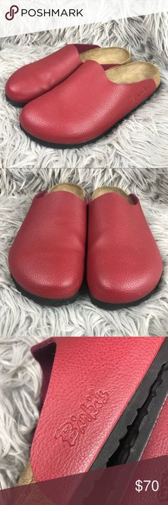 Birkenstock Birki's Red Leather Boston Clogs Excellent conditions with barely ay wear. Red Leather Birki's Size 39 Birkenstock Shoes Mules & Clogs