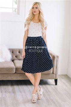 Navy White Polka Dot Modest Skirt for Church, Church Dresses, dresses for church, modest bridesmaids dresses, trendy modest dresses, modest womens clothing, affordable boutique dresses, cute modest dresses, mikarose, modest bridesmaids dresses
