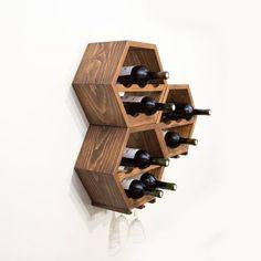 Set of 3 Hanging Wooden Wine Racks  Mid Century by HaaseHandcraft