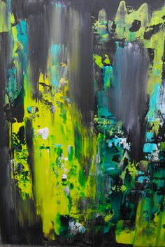 Original 18x24 acrylic abstract art. Green by JenniferMorrisArt, $85.00