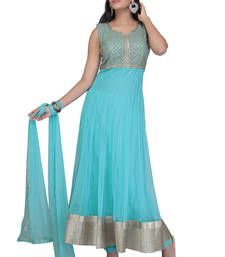 Buy Aqua blue net embroidered stitched salwar with dupatta readymade-suit online