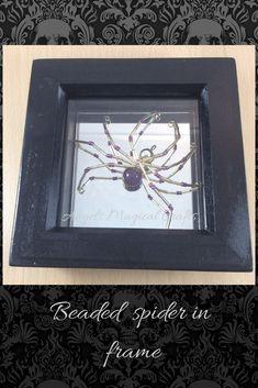 glass beaded spider decoration, shadow box frame Handmade Design, Handmade Shop, Handmade Items, Handmade Gifts, Spider Decorations, Halloween Decorations, Beaded Spiders, Angel Crafts, Shadow Box Frames