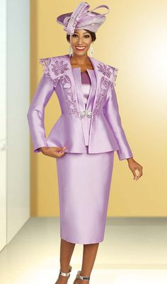 Ben Marc International 48325 Jacket/Cami/Skirt Suit With Multi Layered Jacket. With Floral Embroidery On The Collar And Rhinestone Buckle Silk/Twill Fabric First Lady Church Suits, Women Church Suits, Suits For Women, Ladies Suits, Choir Dresses, Church Dresses, Church Clothes, Church Hats, Women's Clothes