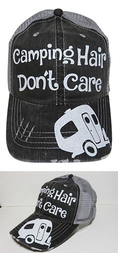 White Glitter Camping Hair Don't Care Grey Trucker Cap Hat Camper Caps Hats, Women's Hats, Camping Hair, Hat Patches, Bag Clips, White Glitter, Caps For Women, Mens Caps, Apparel Design