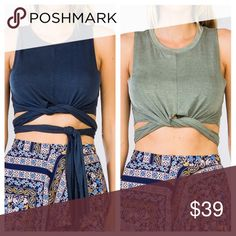 JENNA Wrap Up Crop Top Soft & sexy wrap up crop top. Can be tied however you want. Front, back, side, etc. Perfect for Summer. Available in navy and green. clmayfae Tops Crop Tops