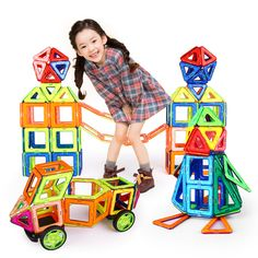 Hot! 56Pcs/Set Magnetic Designer Building Blocks Models & Building Toy Plastic DIY Bricks Children Learning & Educational Toys