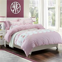 Bunny Pink Bedding Set Teen Bedding Dorm Bedding Bedding Collection Gift Idea Pink Bedding Set, Teen Bedding, Modern Bedding, Pillow Shams, Pillows, Rounded Rectangle, Flat Sheets, Floral Style, Bedding Collections