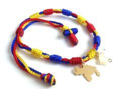 #New Venezuela Gift, #Venezuela map bracelet, Tricolor Venezuelan Flag Bracelet, Pulseras de Venezuela, Venezuela Souvenir, Venezuelan Jewelry Braided Bracelets, Handmade Bracelets, Plastic Lace Crafts, Diy Braids, Star Pendant, Jewelry Making, Pendants, Map, Colombian Flag