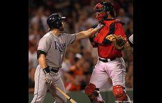 Luke Scott gets testy with Boston catcher Jarrod Saltalamacchia