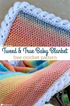 Bright and fun colors make this new Tweed and True baby blanket pattern. Paired with a fun, frilly border, this is a blanket sure to please any new baby. # tunisian crochet baby blanket Tweed and True Baby Blanket Free Crochet Pattern Crochet Afghans, Tunisian Crochet Blanket, Crochet Baby Blanket Free Pattern, Tunisian Crochet Patterns, Knit Crochet, Crocheted Baby Blankets, Crochet Border Patterns, Crochet Blanket Border, Booties Crochet