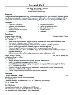 Security Resume Template Fair Resumeexample8  Resume Cv Design  Pinterest  Resume Examples