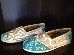Personalized shoes.. Custom shoes.... Original painted shoes... Painted toms shoes.. Custom toms.... Women's custom shoes... Girls shoes.... $70.00, via Etsy.