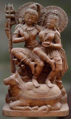 Handmade sandstone sculpture of Shiva and Parvathi: Yugala - Artisans Crest Ancient Indian Art, Ancient Art, Asian Sculptures, Hindu Statues, Shiva Statue, India Art, Hindu Deities, Indian Gods, Stone Art