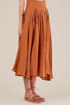 Wrap Skirt in Rust by Black Crane