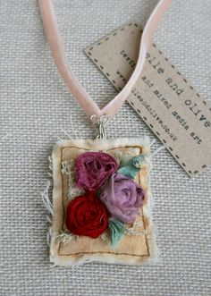 Textile Pendant Necklace, Sari SIlk Roses, Lilac and Red, Shabby Chic