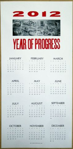 2012 Letterpress Calendar Poster