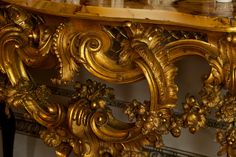Detail of Rococo giltwood pier table, c. 1752, in the Cabinet at Felbrigg. ©National Trust Images/David Kirkham