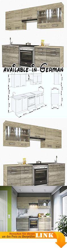 B077G8KQ2V  ELDORADO-MÖBEL KÜCHE LUX 240 CM ROT KÜCHENZEILE - küchenblock 260 cm
