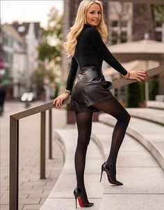 Mode Outfits, Sexy Outfits, Sexy Dresses, Fashion Outfits, Womens Fashion, Linen Dresses, Tights And Heels, Sexy Legs And Heels, Black Tights