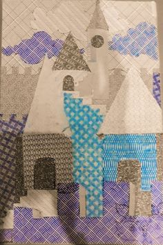 Security envelope pattern art CASTLE IN THE SKY Security Envelopes, Envelope Pattern, Castle In The Sky, Pattern Art, Quilts, Blanket, Crafts, Painting, Manualidades