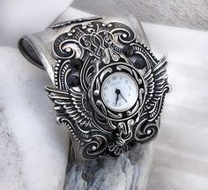 Antiqued Silver Watch black rhinestones gothic Jewelry mens watch womens watch. €168.00, via Etsy.