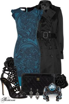 Blue and black evening outfit